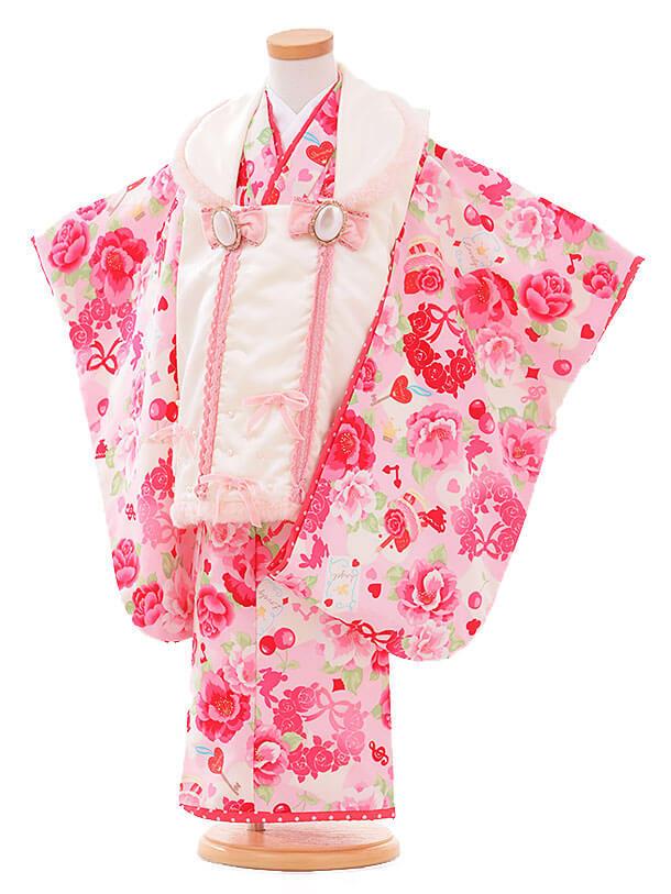 七五三レンタル(3歳女被布)I064 Seiko 白×ピンク バラ