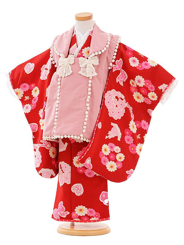 七五三レンタル(3歳女被布)I065 Seiko ピンク×赤花