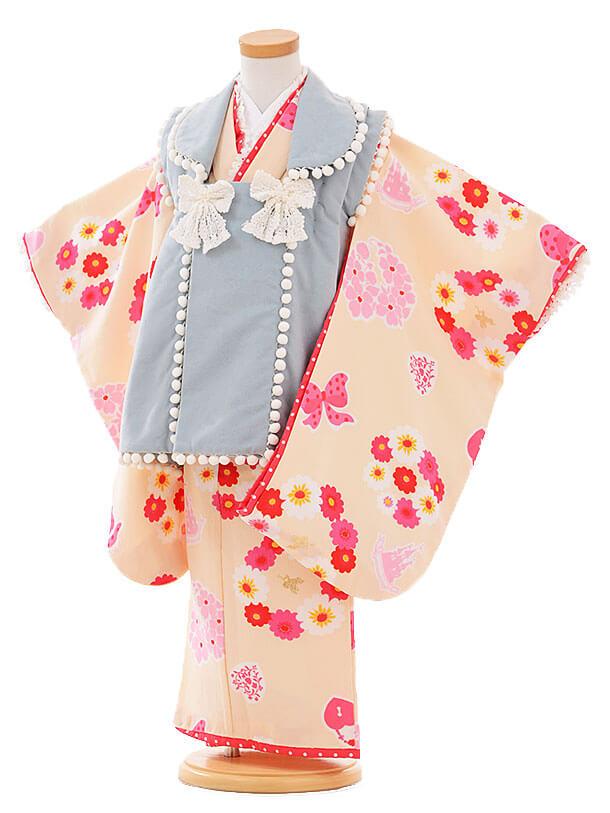 七五三レンタル(3歳女被布)I066 Seiko ブルーグレー×クリーム色花