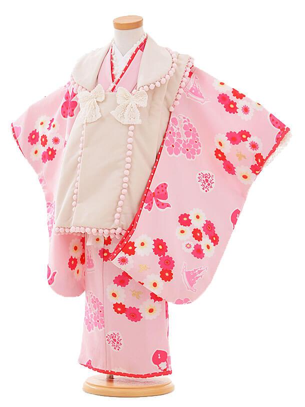 七五三レンタル(3歳女被布)I067 Seiko ベージュ×ピンク花