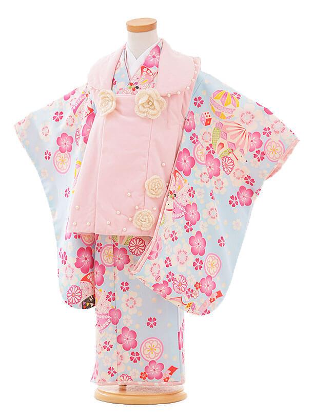 七五三レンタル(3歳女被布)I068 ポンポネット ピンク×水色花