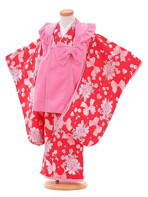 七五三レンタル(3歳女被布)I069 メゾピアノ ピンク×赤リボン
