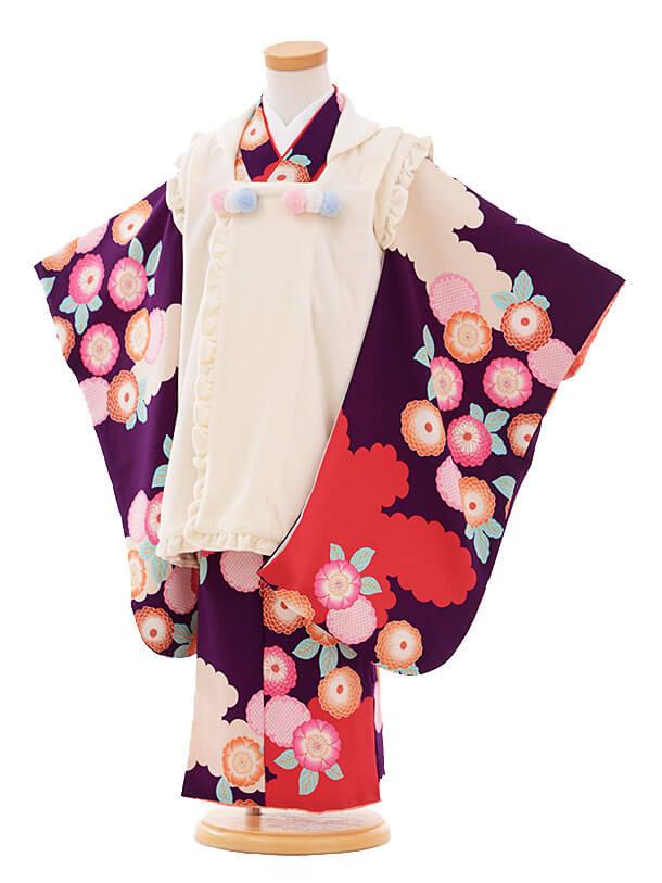 七五三レンタル(3歳女被布)I071 白×紫菊
