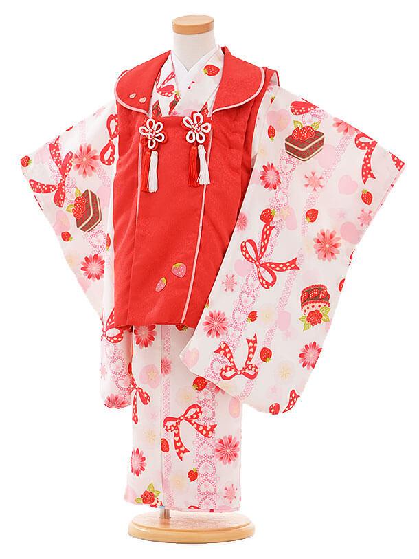 七五三レンタル(3歳女被布)I072 赤×白いちご