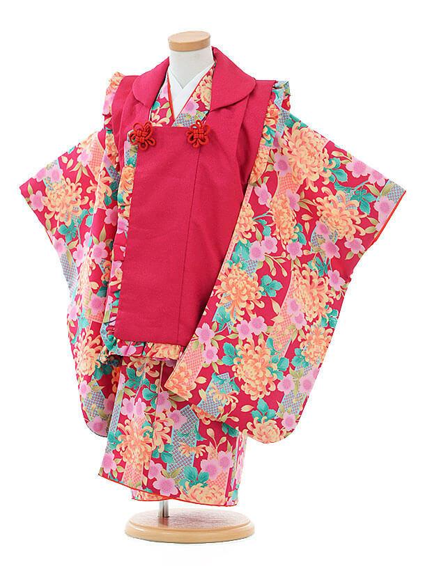 七五三レンタル(3歳女被布)I073 紅×紅菊