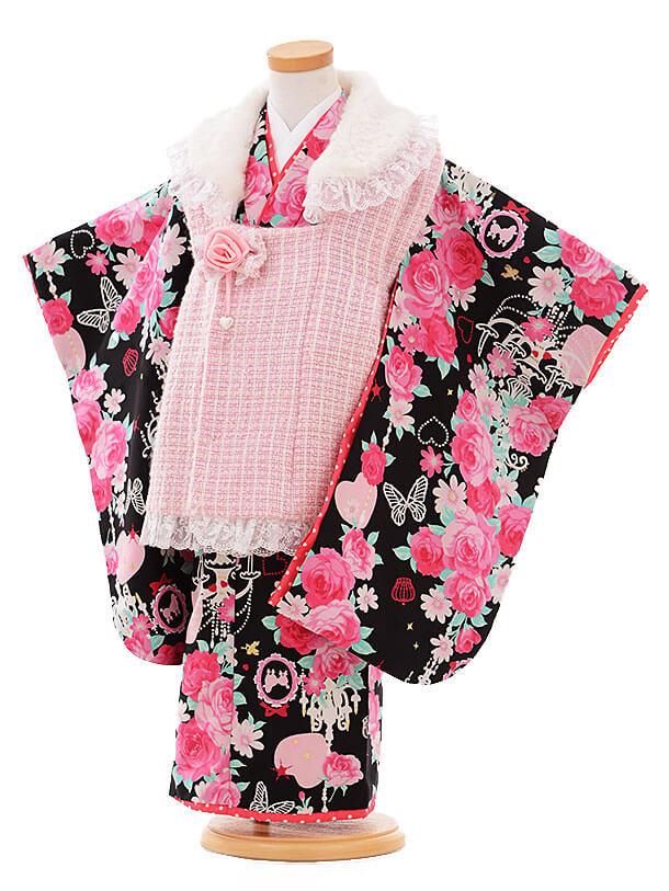 七五三レンタル(3歳女被布)I074 Seiko ピンク×黒バラ