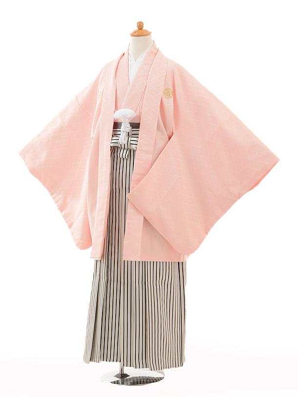 ジュニア袴男児0985ピンク紋付×黒シルバー縞袴
