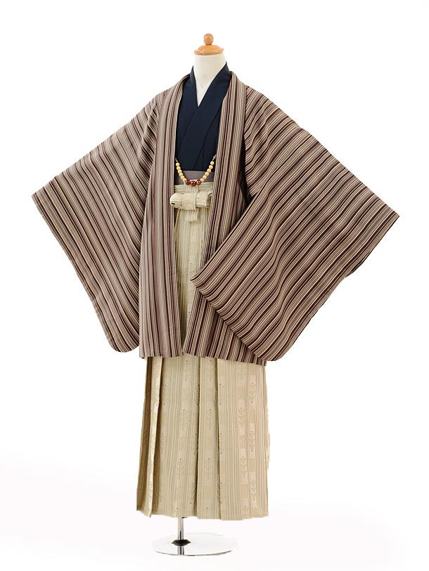 ジュニア袴男児0994茶色縞×ベージュ袴