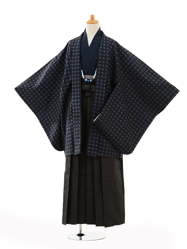 ジュニア袴男児9100紺地丸×黒縞袴