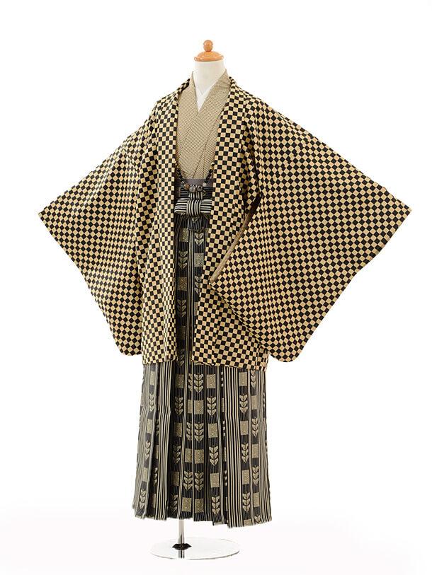 ジュニア袴男児9105黒ベージュ市松×黒ゴールド袴