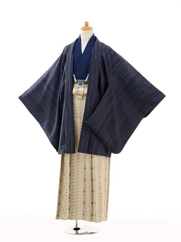ジュニア袴男児9110紺ぼかし縞×ブルー縞袴