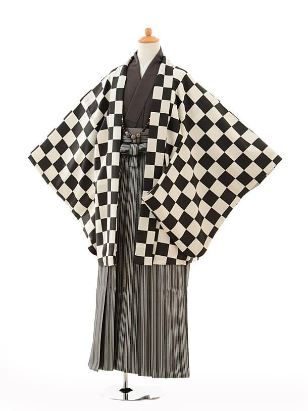 ジュニア袴男児9120黒市松×黒シルバー袴