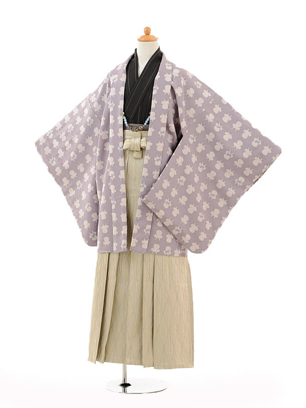 ジュニア袴男児9126パープルイスに猫×ベージュ袴