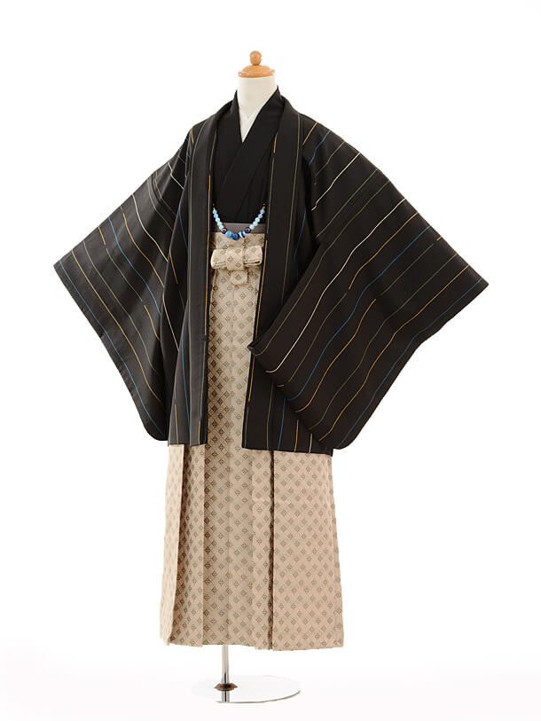 ジュニア袴男児9134黒ストライプ×ベージュ袴