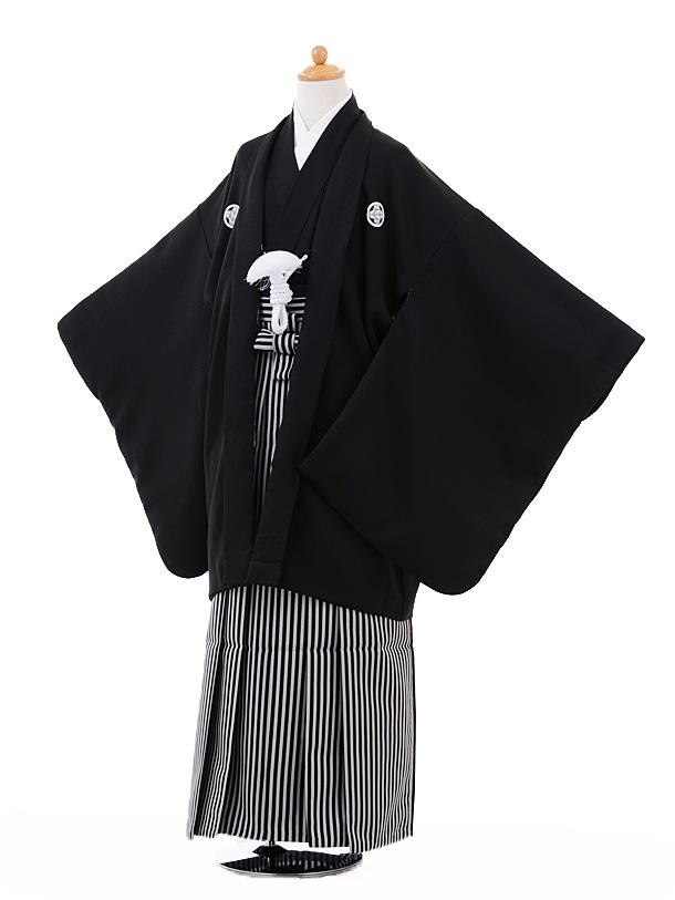 ジュニア袴男児9326黒紋付×黒縞
