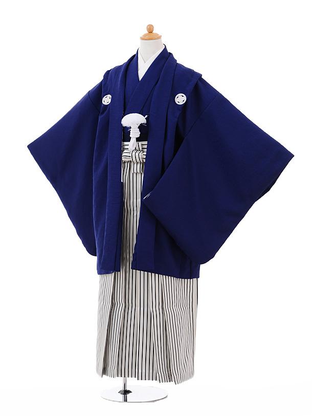 ジュニア袴男児9331紺紋付×黒シルバーストライプ袴