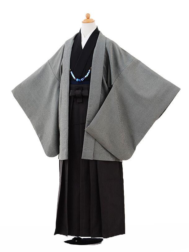 ジュニア袴男児9335グレー羽織×ダークグレーストライプ