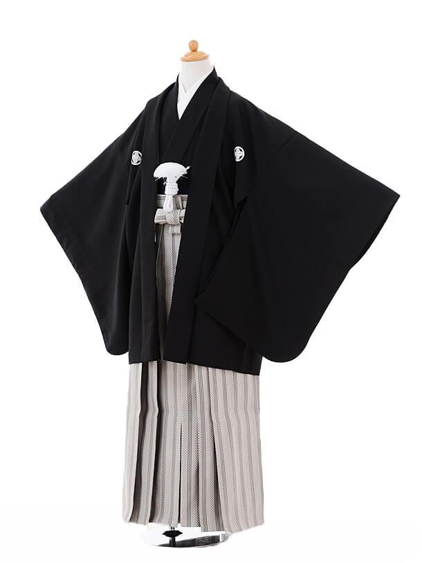 ジュニア袴男児9336黒紋付×グレー袴