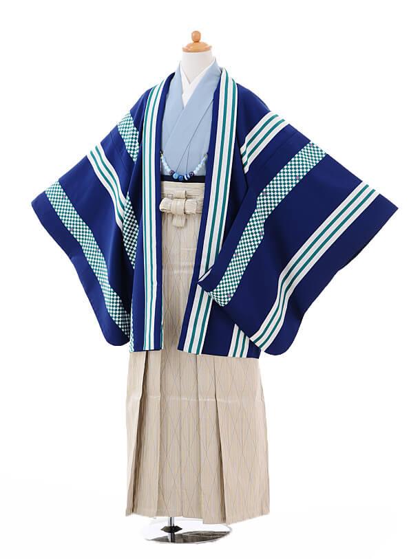 ジュニア袴男児9337紺ストライプ×ベージュゴールド袴