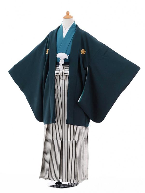 ジュニア袴男児9338紺紋付×黒シルバー縞袴