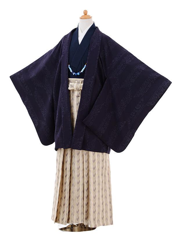 ジュニア袴男児9340紫矢絣×ベージュ袴