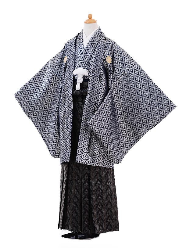 ジュニア袴男児9370紺シルバー紋付×黒袴