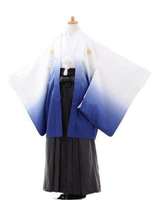 小学校 卒業式 男の子 袴 9422白紺ぼかし紋付×黒縞袴