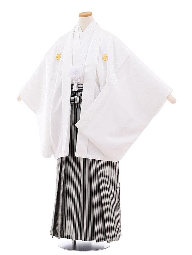 ジュニア袴男児9445 白地菱柄紋付×白黒縞袴