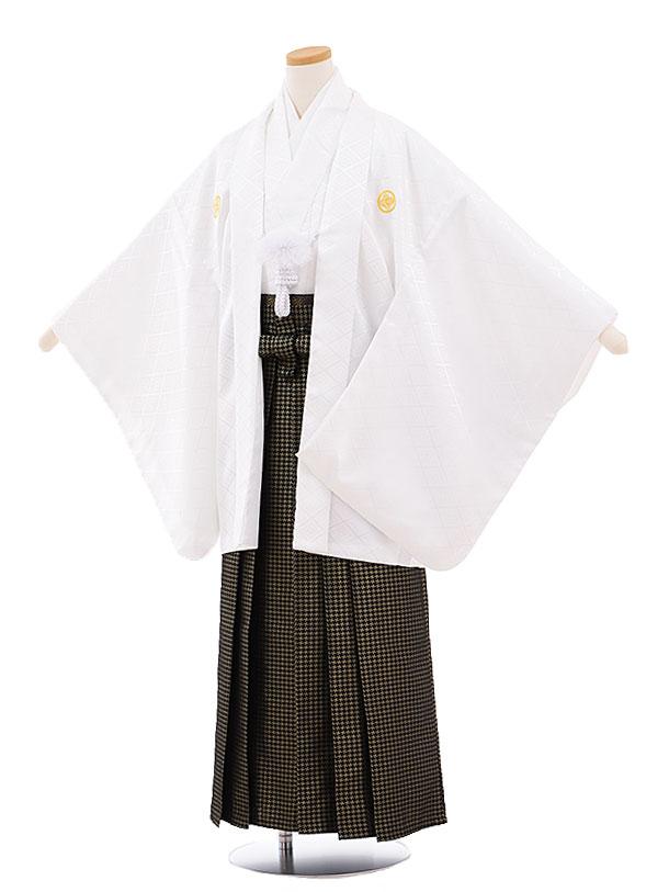 ジュニア袴男児9447 白地菱柄紋付×黒ゴールド袴