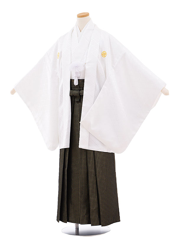 ジュニア袴男児9448 白地菱柄紋付×黒ゴールド袴