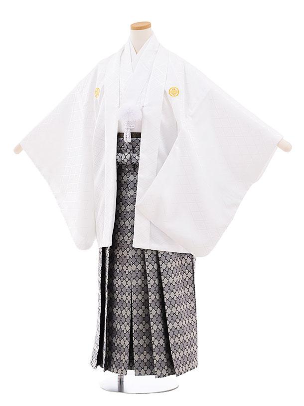 ジュニア袴男児9452 白地菱柄紋付×グレー袴