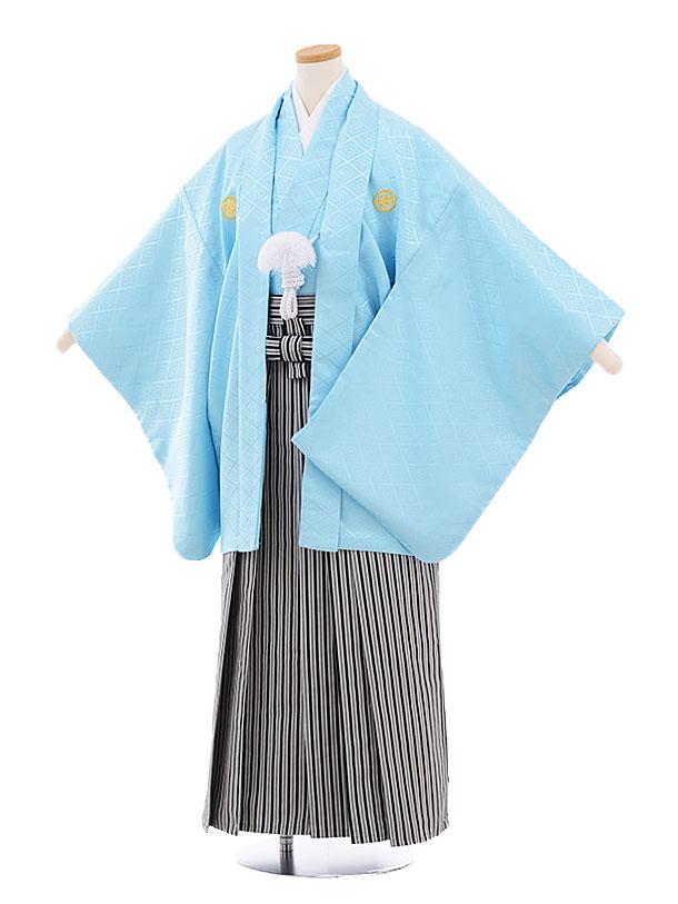 ジュニア袴男児9454 水色菱柄紋付×白黒縞袴