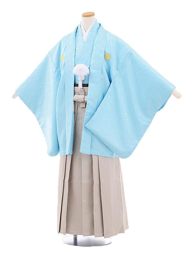 ジュニア袴男児9457 水色菱柄紋付×グレー袴