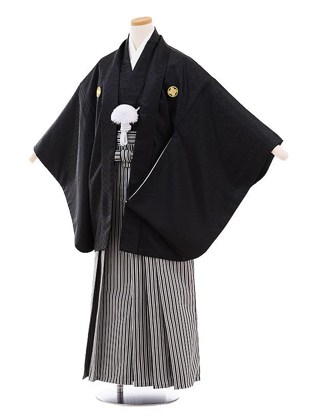 ジュニア袴男児9459 黒地菱柄紋付×白黒縞袴