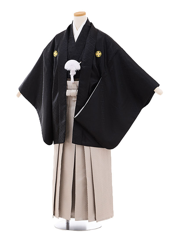 ジュニア袴男児9464 黒地菱柄紋付×グレー袴