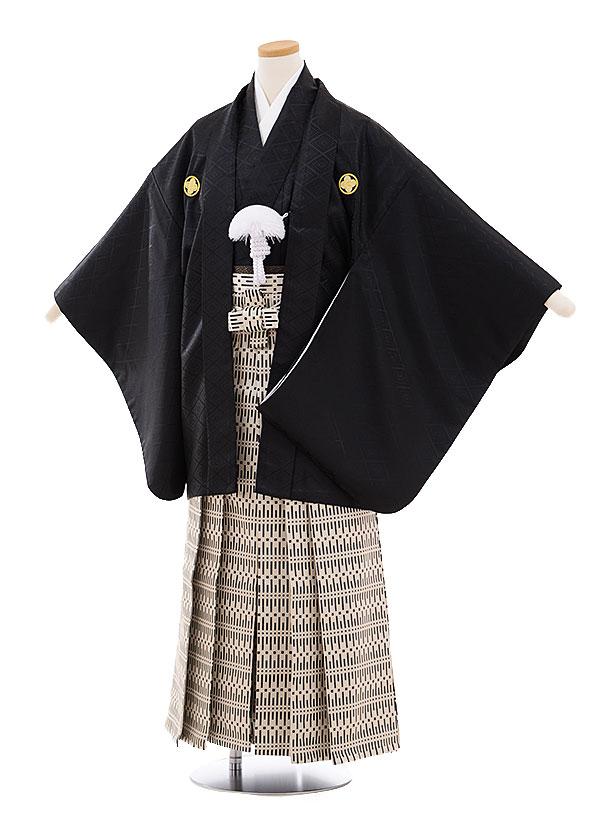 ジュニア袴男児9465 黒地菱柄紋付×ベージュ黒袴