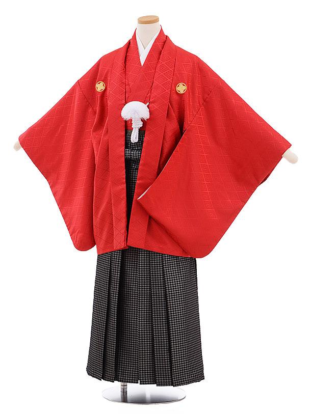 ジュニア袴男児9469 赤地菱柄紋付×黒シルバー袴