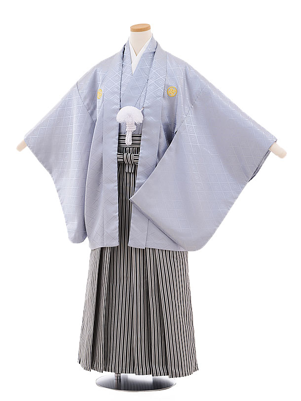 ジュニア袴男児9472 グレー地紋付×白黒縞袴