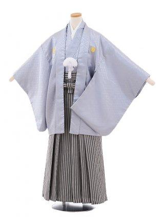 小学校 卒業式 男の子 袴 9473 グレー地紋付×白黒縞袴