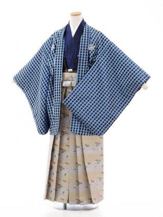 小学校 卒業式 男の子 袴 9713 花わらべ ブルー格子×グレー波袴