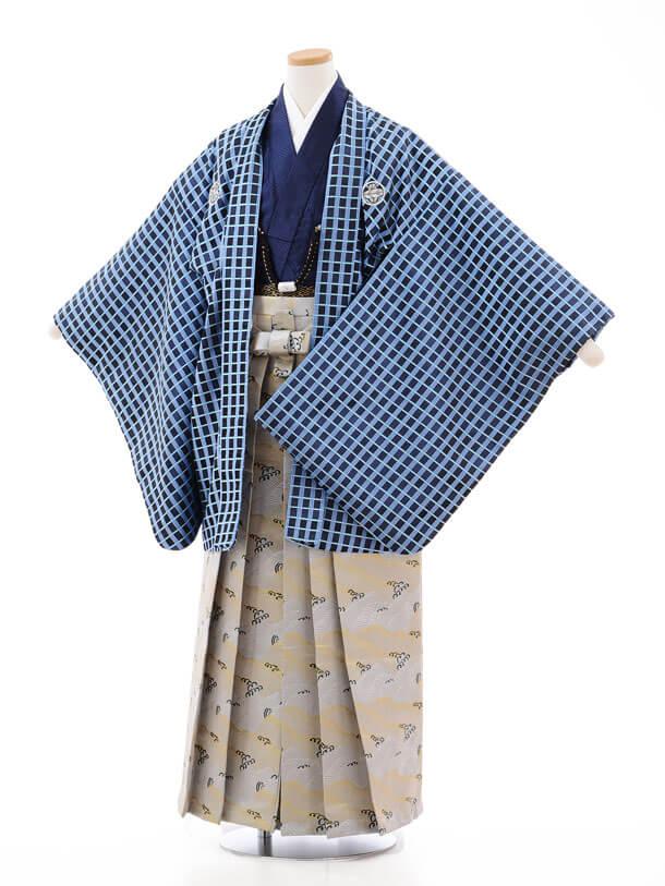 ジュニア袴男児9713 花わらべ ブルー格子×グレー波袴