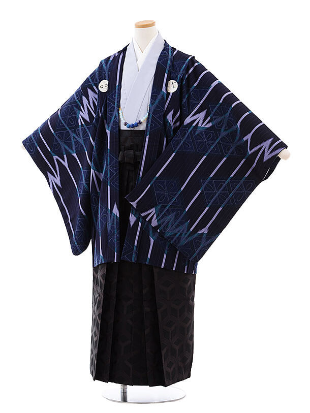 ジュニア袴男児9714 九重 紺紫しゃれ紋×黒袴