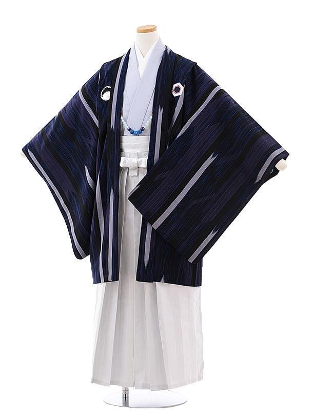 ジュニア袴男児9715 九重 黒しゃれ紋×白袴