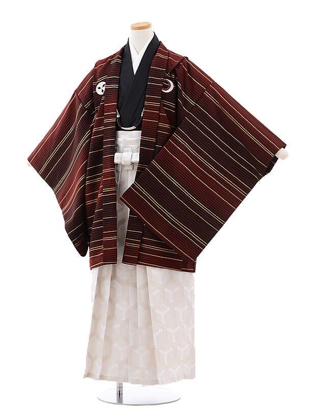 ジュニア袴男児9716 九重 エンジしゃれ紋×オフ白袴