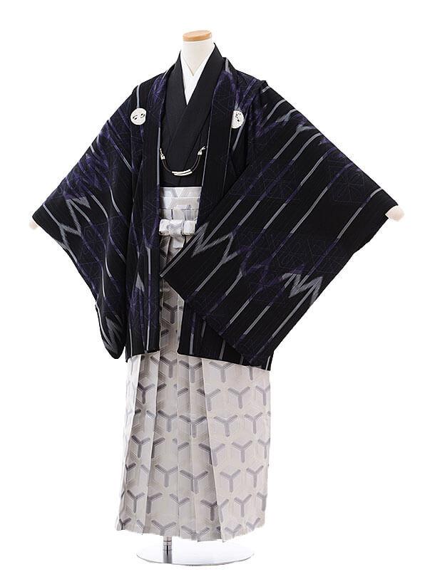 ジュニア袴男児9717 九重 黒グレーしゃれ紋×グレー袴