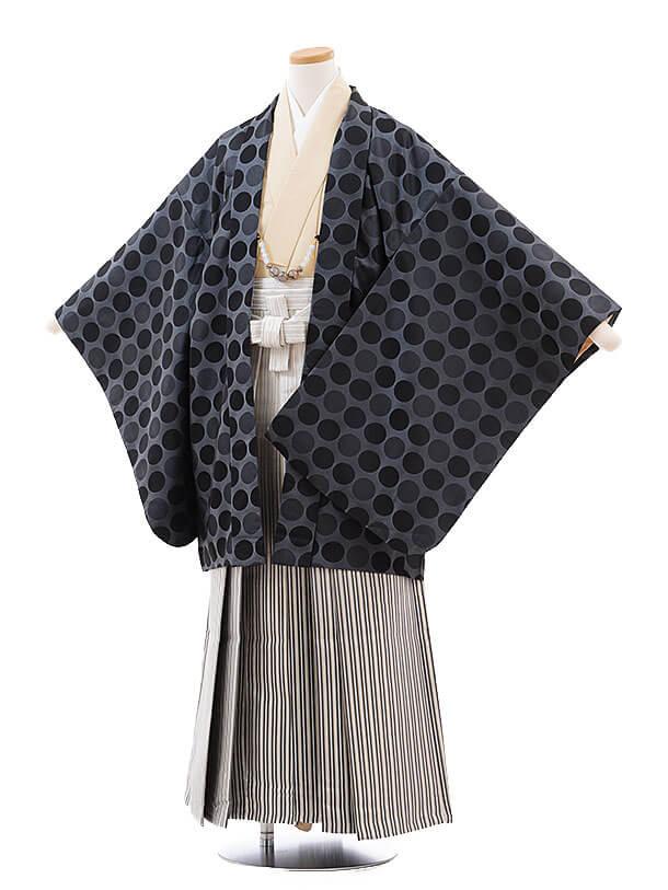 ジュニア袴男児9719 グレー水玉×シルバー縞袴