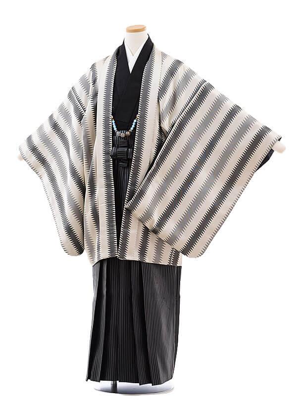 ジュニア袴男9723グレーベージュジグザグストライプ×黒ラメ縞