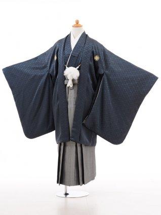 小学生 卒業式 袴 男児 D003ブルーグレー×シルバー袴