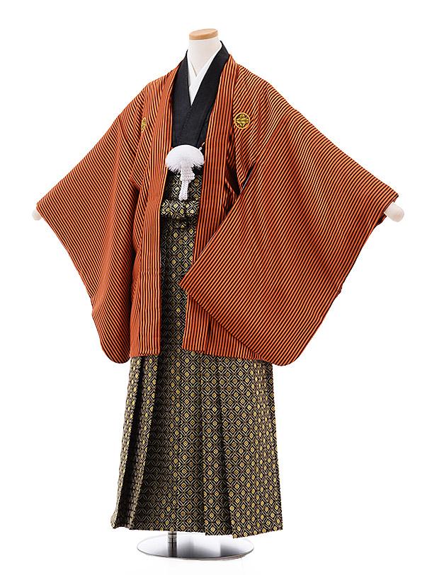 小学校卒業式袴(男児) Z021 オレンジストライプ 紋付×黒ゴールド袴