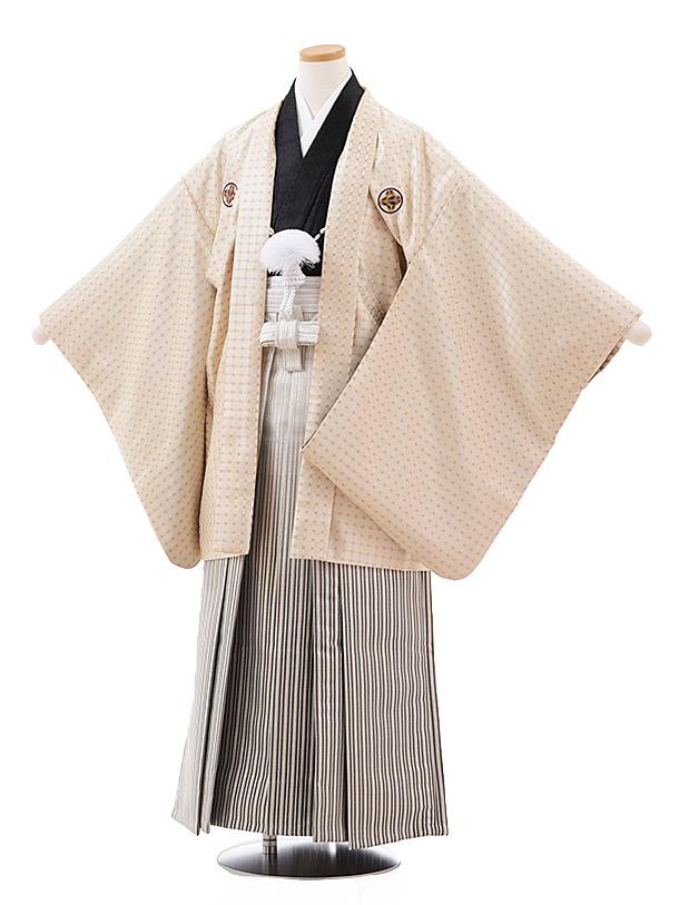小学校卒業式袴(男児) Z022 ベージュ 紋付×シルバーストライプ袴